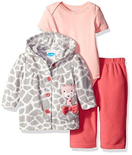 BON BEBE Girls' 3 Piece Microfleece Jacket Set, Coral Giraffe, 6-9 Months
