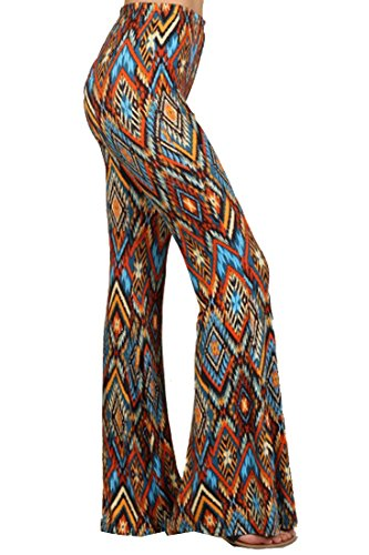Zoozie LA Women's Bell Bottoms Tie Dye and High Waist Denim Colored Yoga Pants