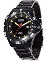 Detomaso Matera Tritium Solar Black/Yellow Men's Quartz Watch with Multicolour Dial Analogue Display and Black Stainless Steel Bracelet DT2044-B