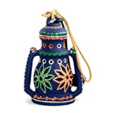 ExclusiveLane 8 Inch Terracotta Lantern Handpainted Blue