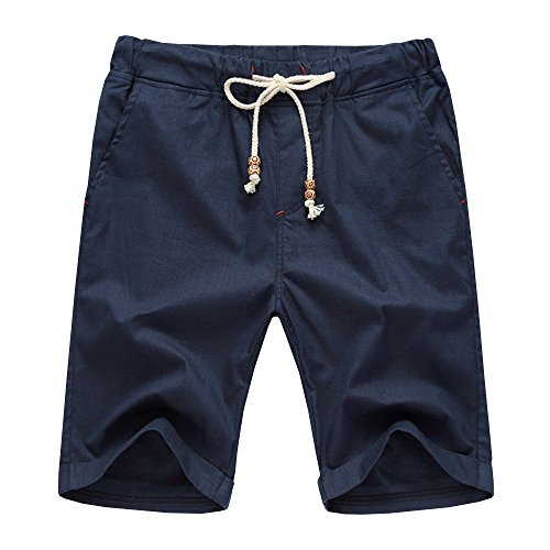 Manwan Walk Men's Linen Casual short 311 (Small, Navy Blue) Casual Shorts