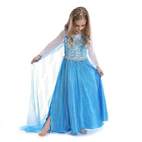 [EnjoyFashion Girls' Princess Party Dress Halloween Queen Costumes 3-4 Blue] (Toddler And Girls Aurora Princess Costumes)