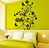 Jade Onlines creative Flower Branch Butterfly Removable Wall Decals Wall Paper Stickers Decor