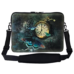 """15 15.6 inch Clock Butterfly Design Laptop Sleeve Bag Carrying Case with Hidden Handle & Adjustable Shoulder Strap Fits 15"""" 15.6"""" or Small Size Notebook PC"""