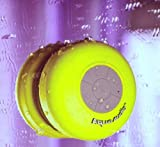 AquaAudio Mini Ultra Portable Waterproof Bluetooth Wireless Stereo Speakers with Suction Cup for Showers, Bathroom, Pool, Boat, Car, Beach, Outdoor etc. | For All Devices with Bluetooth Capability + Siri Compatible - 6 Hours Playtime / with Built-in Mic for use as a Powerful Handsfree Speakerphone (Yellow)
