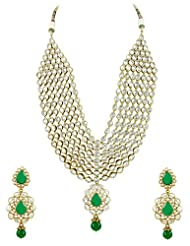 Bridal Jewellery Set Green Colored Seven Line Drop Shaped Reverse AD Necklace Set