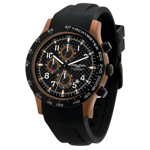 Jorg Gray Men's Quartz Analogue Watch JG2000-11 With Rubber Strap and Black Dial