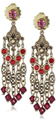 """Sorrelli """"Ruby Cocktail"""" Cascading Red and Gold Cut Crystal Chandelier Post Earrings"""