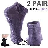 Yoga Socks, Comsun 2 Pairs Toeless Non Slip Women Socks With Grip Silicone Dot for Pilates Barre Bikram Fit 4.5-8 Shoe Size 78.7% Cotton Black and Purple