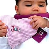Wärmekissen Herz mit Namen rosa kariert 15x17 cm groß