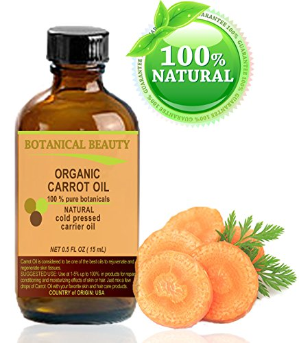 Organic Carrot Oil 100% Natural / Pure Botanicals / Cold Pressed Carrier Oil 0.5 Fl. Oz. -15 Ml. For Face, Body, Hair And Nail Care. By Botanical Beauty