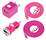Car & Home Charger Kit for iPhone 6 6 Plus 5 5C 5S, iPad 3 4, iPad Mini, iPod Touch 5/Nano 7, 8 pin to USB, Include: (1) 3ft lightning cable, (1) 6ft lightning cable, (1) Car Charger, (1)Travel Charger (Hot Pink)