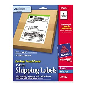 Avery Stamps.com Desktop Postal Center:  White Shipping Labels, 6.75 inches x 4.25 inches, Pack of 50 Labels (32402)