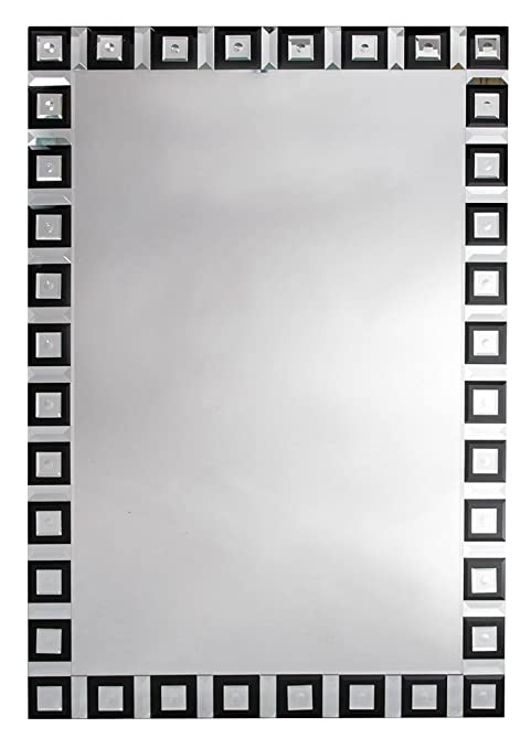 Contemporary Venetain Geometric Black and Clear Mirror