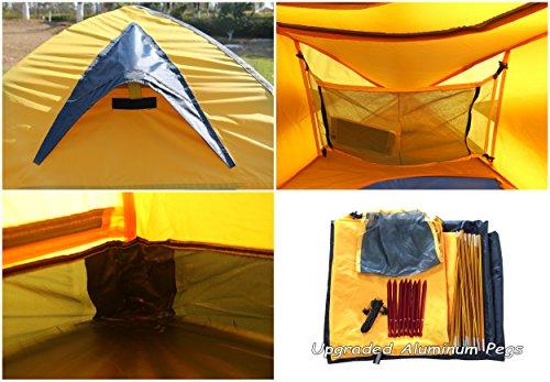GEERTOP® 2-Personen 4-Jahreszeiten Aluminiumstangen Wasserdichten Camping Kuppelzelt – 140 x 210 x 115 cm – Ideal für Camping, Beim Klettern und Jagen - 5