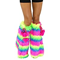 iHeartRaves Neon Rainbow Fluffy Leg Warmers - Rave GoGo Fluffies