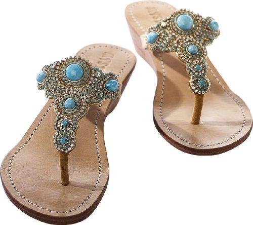 Mystique Turquoise Mini Wedge Sandals (9) front-741001