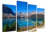 PICTURE - Multi Split Panel Canvas Artwork Art - Bow Lake Banff National Park Canada Blue Sky Water Reflection Clear Glacier - ART Depot OUTLET - 4 Panel - 101cm x 71cm (40