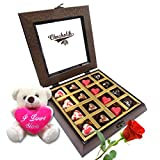 Twinkling Hearts Chocolates With Rose And Love Teddy - Chocholik Belgium Chocolates
