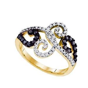 10K Yellow Gold 0.33 ctw Black Diamond Fashion Ring