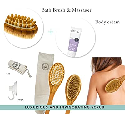 NEW Body Brush & Back Scrubber with FREE Hook + Body Cream + Cotton Cover - Long Handle - Excellent for Skin Exfoliating & Cellulite - Natural Bristles Shower - Use Wet / Dry, Men / Women (USA Seller)