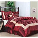 Nanshing Angela Queen 7 Piece Jacquard Comforter Set Red