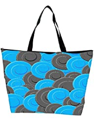 Snoogg Blue Grey Pattern Designer Waterproof Bag Made Of High Strength Nylon