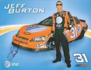 Autographed Jeff Burton #31 AT&T NASCAR Hero Driver Card