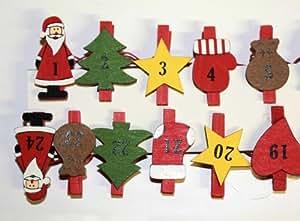 HAAC Advent Girlande Holz Adventskalender mit 24 Klammern Länge 250 cm für Weihnacht Weihnachten