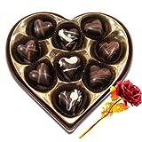 Valentine Chocholik's Belgium Chocolates - Divine Selection Of Chocolates Box With 24k Red Gold Rose