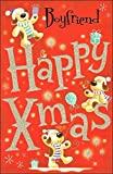 Boyfriend Christmas Card Cute Spotty Dogs With Presents And Glitter 10.75