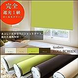 完全遮光 遮光1級 ロールスクリーン ロールカーテン 鮮やか4色 カーテンレール取付け可 遮熱 省エネ (幅60×丈180cm, 遮光1級グリーン)