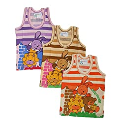 NammaBaby Cotton Sleeveless vest Multi PRINT Set Of 3 (6-9 months)