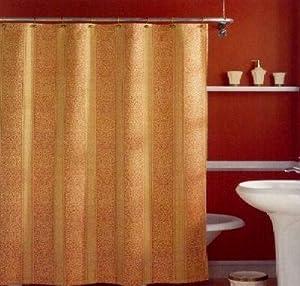 Mediterranean Damask Woven Stripe Fabric Shower Curtain Gold Sa