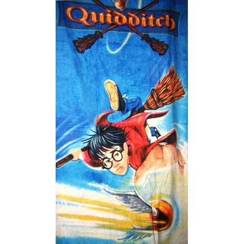 "Harry Potter Bath or Beach Towel ""Quidditch"" with Harry as Gryffindor"