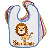 Cartoon Lion Personalised Baby Bib Blue Pink Yellow or White