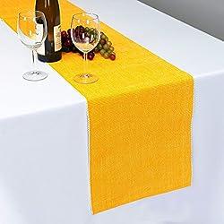 Dhrohar Hand Woven Cotton Table Runner - Dark Yellow
