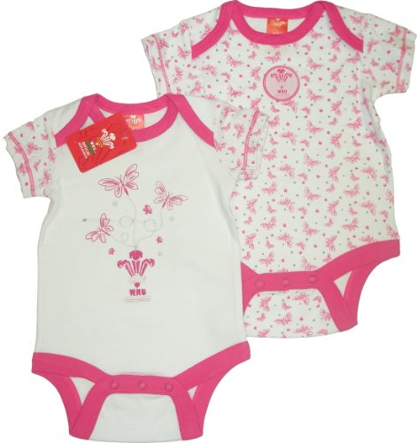 Welsh Rugby Union Girls 2 pack Bodysuits (White/AOP,6 to 9 months)