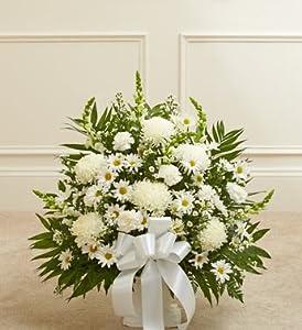 1800Flowers - Heartfelt Tribute White Floor Basket Arrangement - Small
