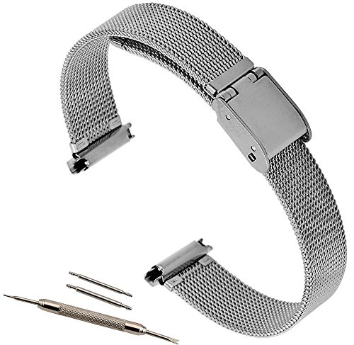 10-14mm Metal Mesh Watch Band Silver Tone Ladies Fits Pebble Time Round Watches (Watch Strap Stainless Steel 10mm compare prices)