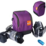 First2savvv high quality anti-shock purple Nylon camcorder case bag for SONY HDR-CX280E HDR-CX220E HDR-GW66VE HDR-AS15 HDR-AS30 with card reader