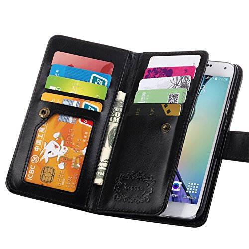 S5 Case, Galaxy S5 Case, Joopapa Galaxy S5 Luxury Fashion Pu Leather Magnet Wallet Credit Card Holder Flip Case Cover with Built-in 9 Card Slots for Samsung Galaxy S5 / Galaxy Sv / Galaxy S5 I9600 (Black) (Cell Phone Accessories Cases compare prices)