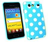 Emartbuy® Samsung I9070 Galaxy S Advance Polka Dots Gel Skin Cover/Case Blue / White