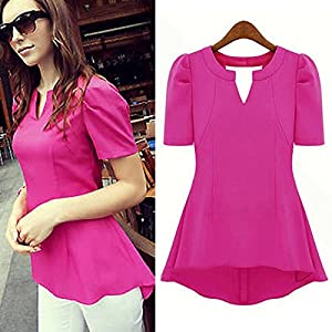 Viewred Women V-Neck Solid Chiffon T Shirt Tops Short Sleeve Shirt Blouse Black XL