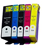 1 SET OF 5 HP364XL COMPATIBLE INK CARTRIDGE MULTIPACK FOR HP Photosmart C5370 Printer - HIGH CAPACITY COMPATIBLE ***WITH CHIP*** /Cyan / Magenta / Yellow / Black / Photo Black / ***By TriINKs***