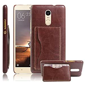 Excelsior Premium Leather Card Holder Back Cover Case for Xiaomi Redmi Note 3 - Brown
