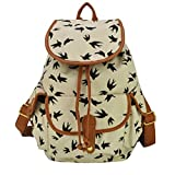 Womens Vintage Casual Daypack Fashion Pack Canvas Leather Travel Hiking Backpacks Campus School College Bookbag Rucksack Gym Shoulder Bag Portable Carry Case Bag for Sony Canon Nikon Olympus DSLR Ipad Google Nexus SamSung Galaxy Note 10.1 N8000 Microsoft