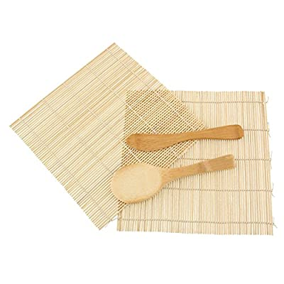 JapanBargain Brand - Sushi Rolling Kit - 2x rolling mats, 1x rice paddle, 1x spreader - natural