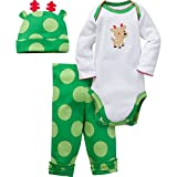 Gerber Girls' 3 Piece Bodysuit, Reindeer, 3-6 Months