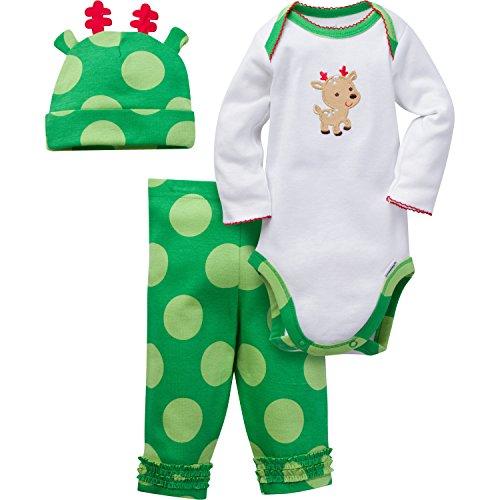 Gerber Girls' 3 Piece Bodysuit, Reindeer, 6-9 Months